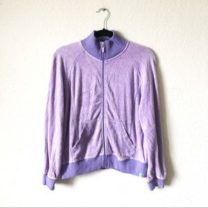 Velour Purple Track Jacket  w/ Pockets.